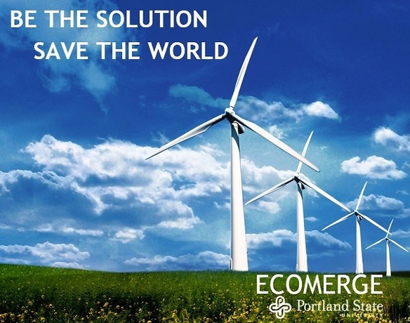Ecomerge from PSU image depicting wind power for sustainability